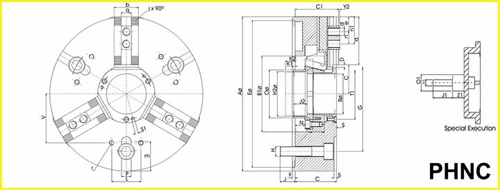cnc lathe chuck specification drawing